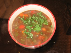 black bean soup serving