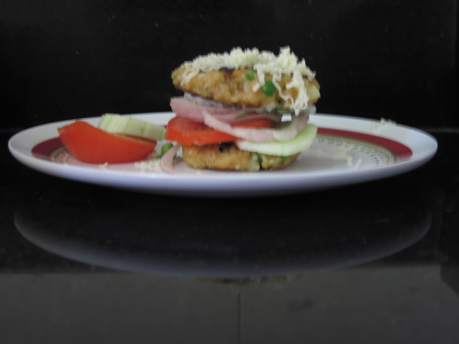 Soya Vegetable Burger with Garlic Cilantro Schmear