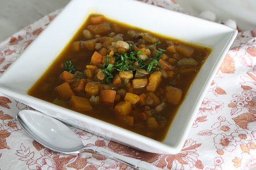 pumpkin and lentil soup