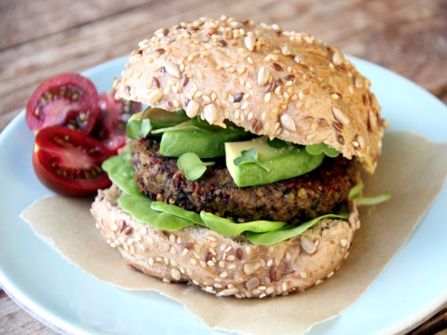 pumpkin black lentil burger