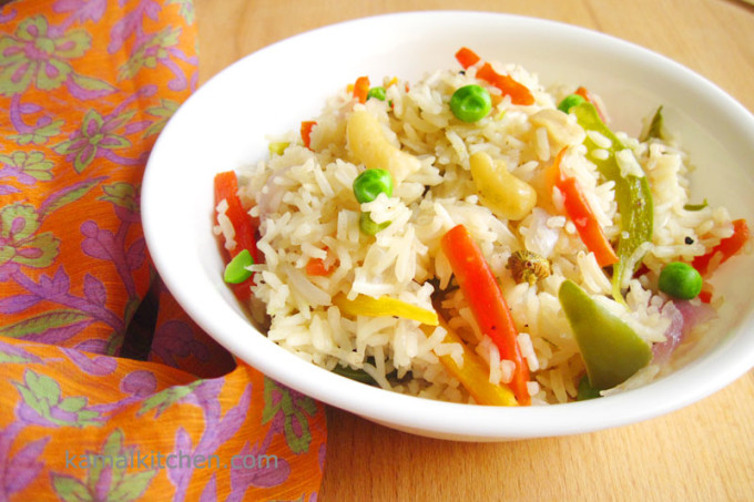 Vegetable Pulao or Indian Vegetable Pilaf Recipe (Meatless Monday)