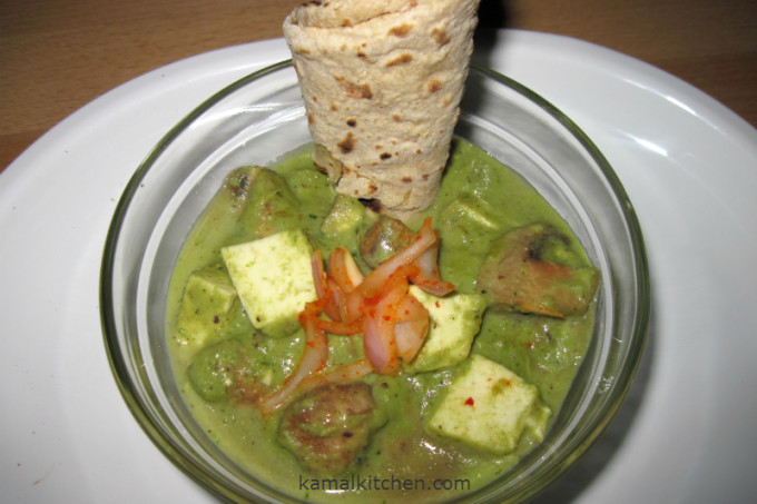 Paneer and Mushroom in Green Sauce – No, its not spinach!