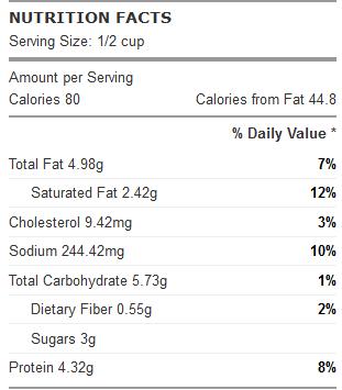cauliflower sauce nutrition