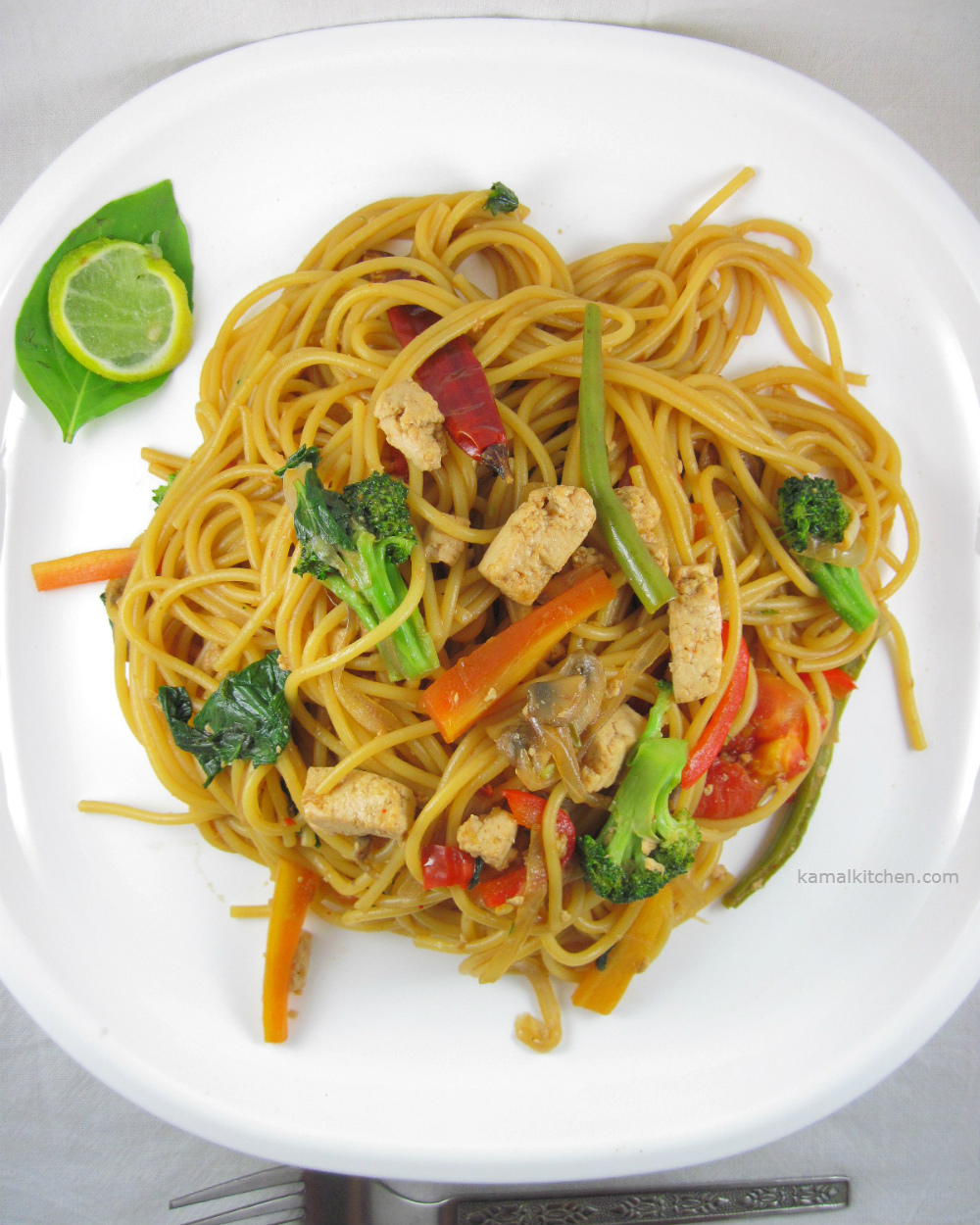 Drunken Noodles - Vegan Pad Kee Mao Recipe - KamalKitchen