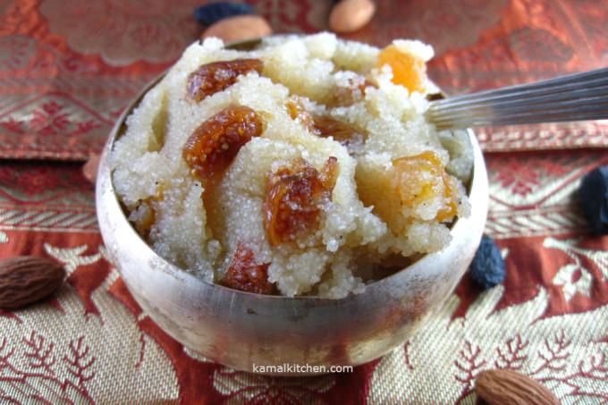Sooji Halwa/ Badami Shira/ Fig and Almond Semolina Pudding