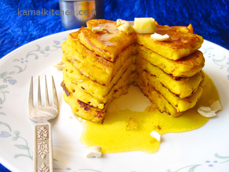 Eggless Mango Cashew Pancake