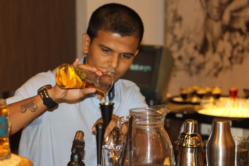 Bartender Abhishek Shevde in action