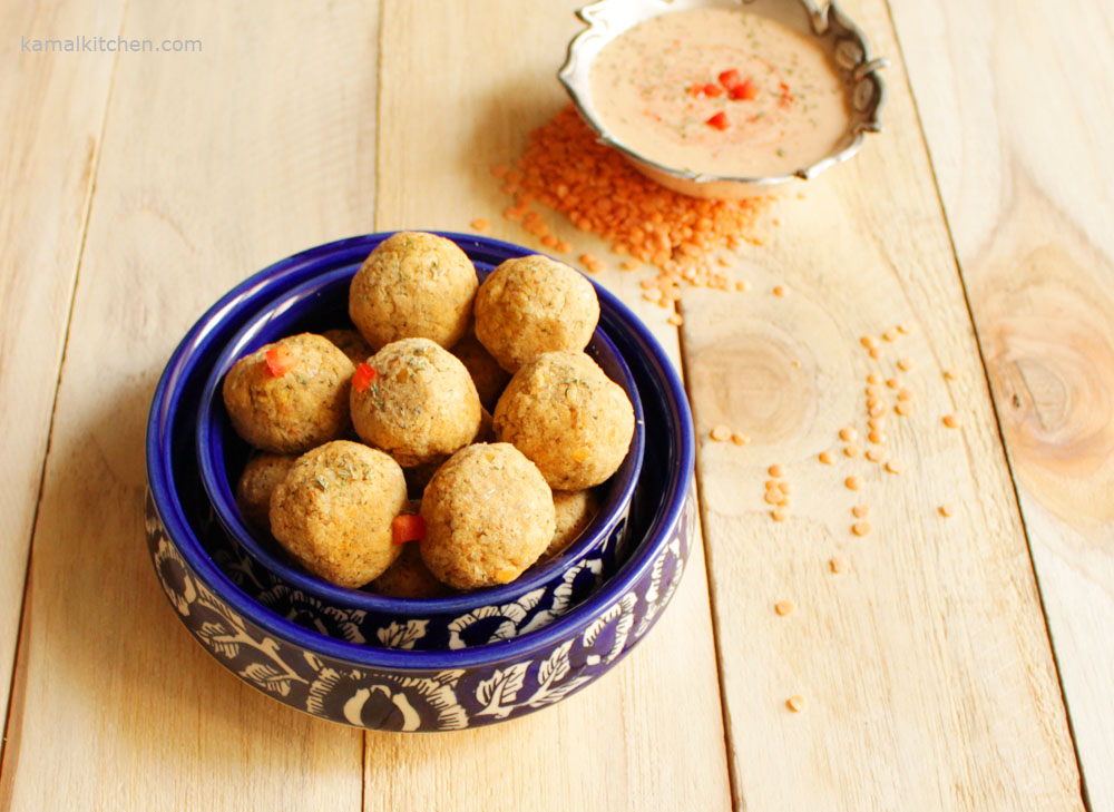 Turkish Lentil Kofte with Creamy Red Pepper Dip