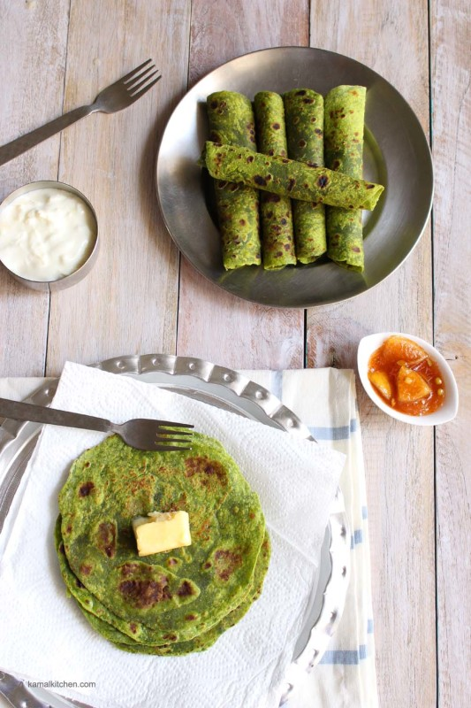 spinach whole wheat wrap palak paratha