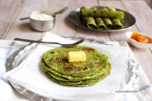 Spinach whole wheat wraps or palak paratha