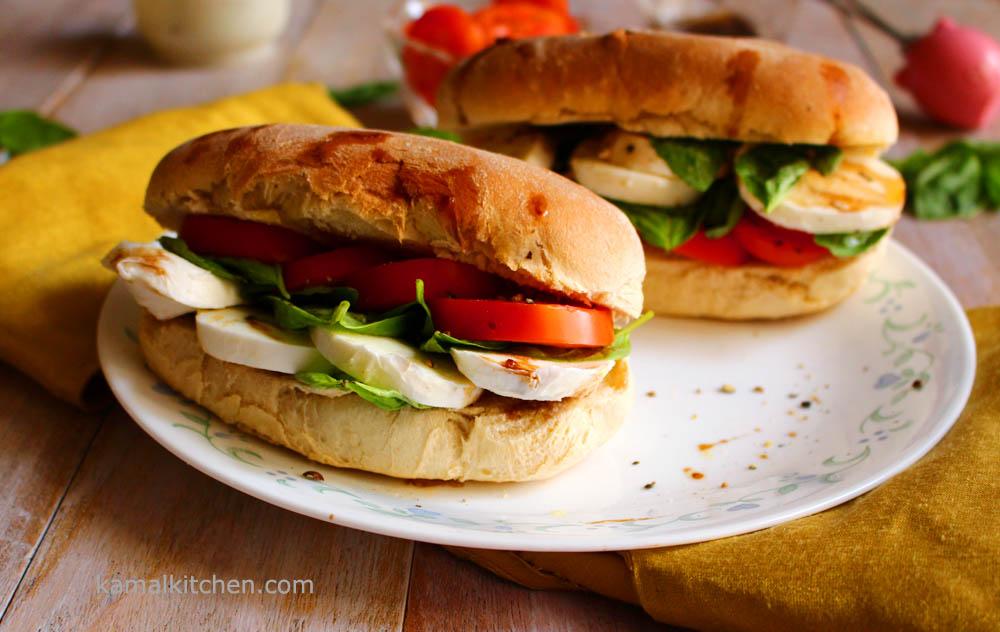 Caprese Sandwich – Tomato, Basil & Mozzarella Sandwich