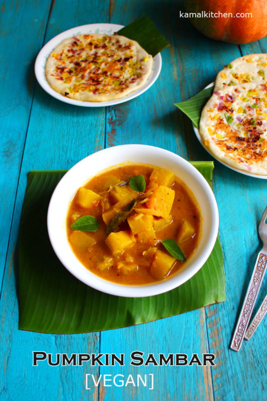 pumpkin sambar recipe - pumkin lentil stew vegan recipe