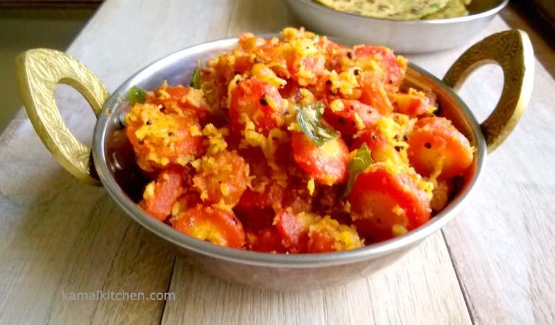 Gajar Ki Subzi – Indian Carrot Coconut Stiry Fry