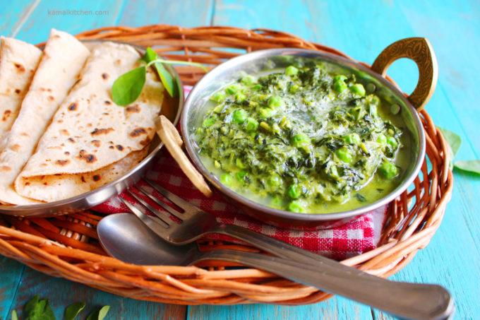 Methi Matar Malai – Creamy Fenugreek Greens with Peas Recipe