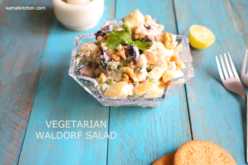 Vegetarian Waldorf Salad – Eggless Waldorf Salad with Chickpeas