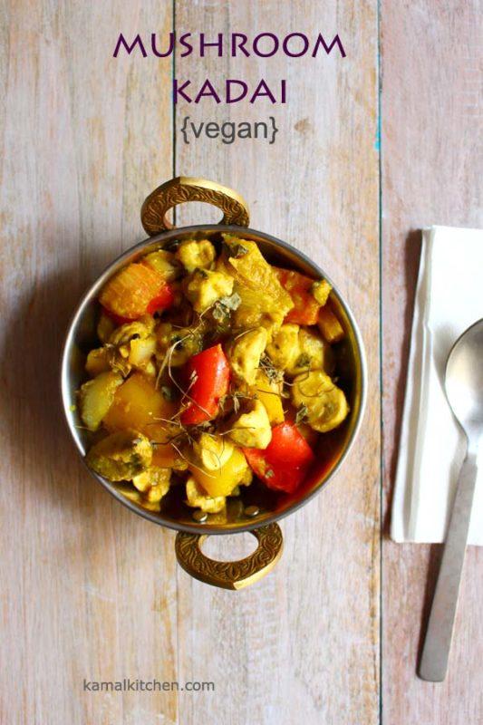 mushroom kadai stir fry curry